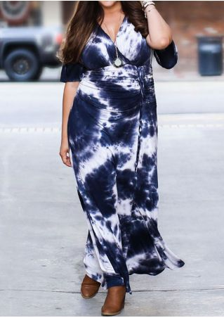 Plus Size Tie Dye Wrap V-Neck Maxi Dress without Necklace