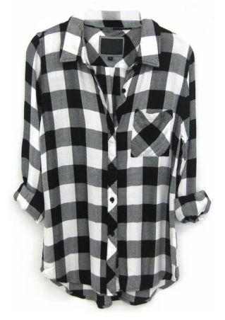 Plaid Pocket Long Sleeve Casual Shirt
