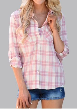 Plaid Front Pocket Tab-Sleeve Shirt