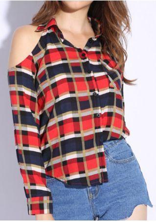 Plaid Off Shoulder Button Shirt