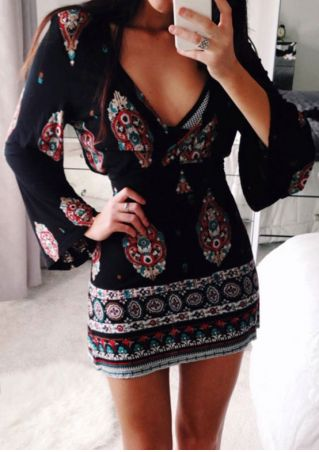 Printed Flare Sleeve Deep V-Neck Mini Dress