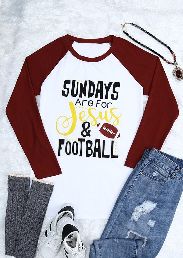 Sundays Are For Jesus & Football Baseball T-Shirt 154222
