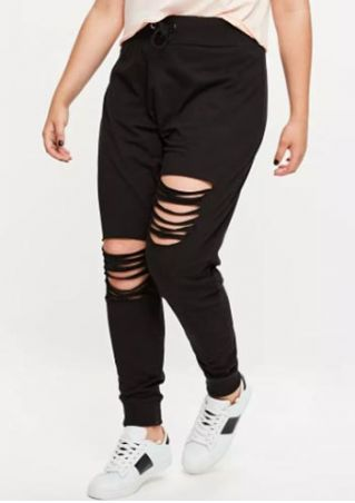 Plus Size Solid Hollow Out Drawstring Pants
