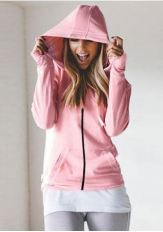 Solid Drawstring Zipper Hooded Coat