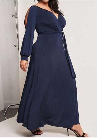 Plus Size Solid Cold Shoulder V-Neck Maxi Dress without Necklace