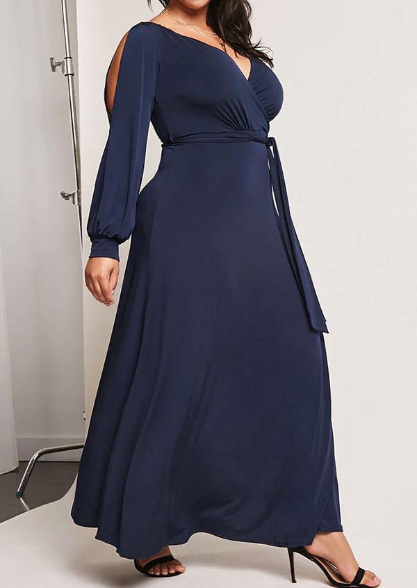 fe31f180c3c Plus Size Solid Cold Shoulder V-Neck Maxi Dress without Necklace ...