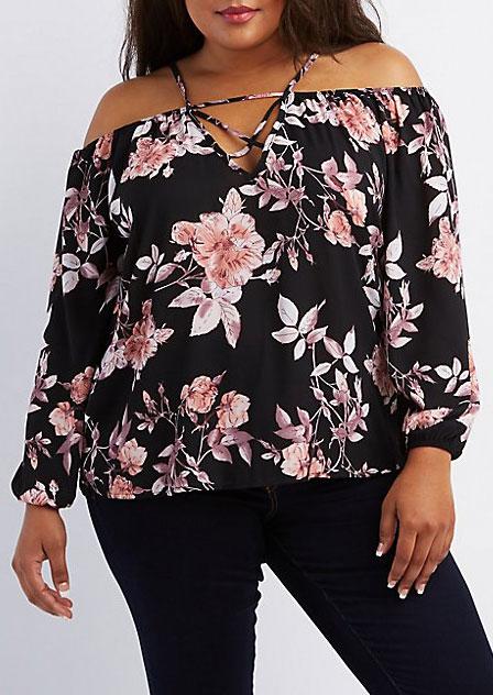 9857b529c24 Plus Size Floral Criss-Cross Cold Shoulder Blouse - Bellelily