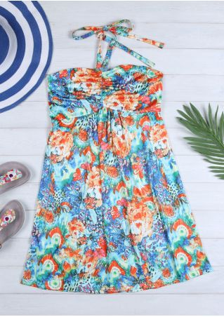 Printed Ruched  Halter Mini Dress