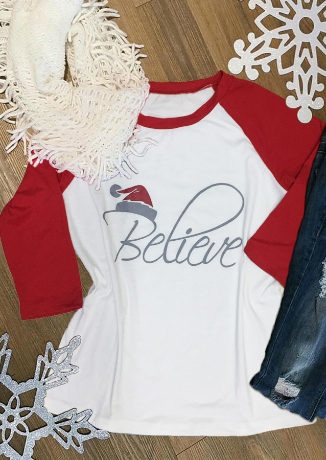 Hat Believe Printed Splicing T Shirt Bellelily