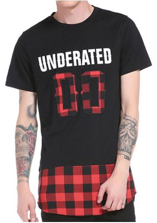 Underated Plaid Splicing Short Sleeve T-Shirt