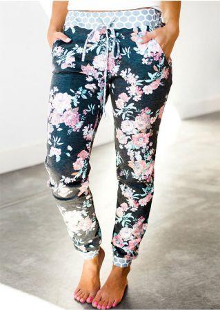 Floral Drawstring Elastic Waist Pants