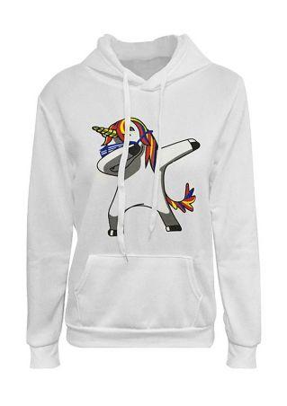 Unicorn Drawstring Pocket Long Sleeve Hoodie