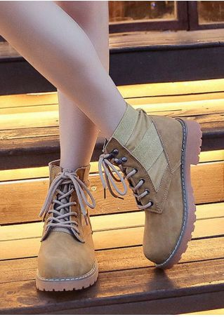Splicing Lace Up Round Toe Boots