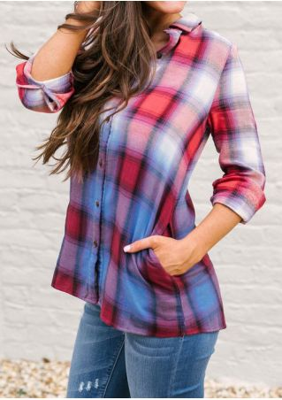 Plaid Pocket Button Long Sleeve Shirt