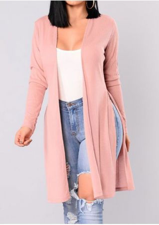 Solid Knitted Slit Long Sleeve Cardigan