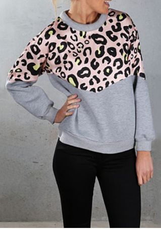 Leopard Printed Splicing Long Sleeve Sweatshirt