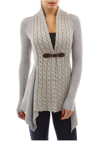Solid Asymmetric Knitted Cardigan With Buckle
