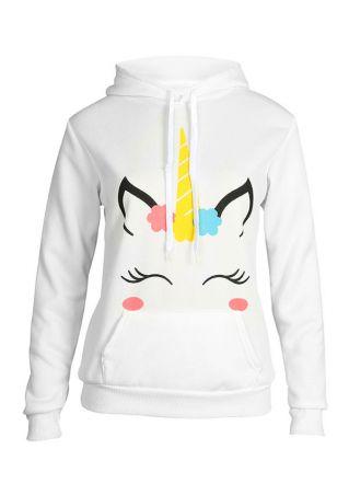Unicorn Printed Long Sleeve Hoodie