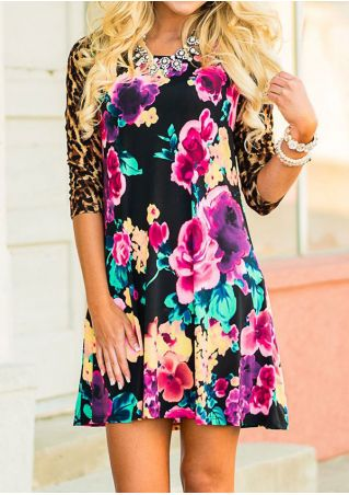 Floral Leopard Printed Splicing Mini Dress without Necklace