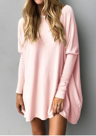 Solid Long Sleeve O-Neck Blouse
