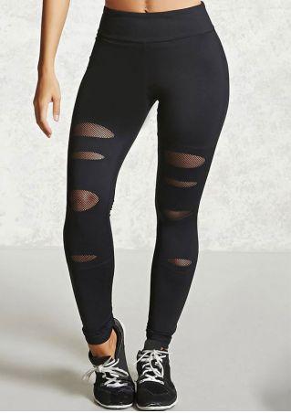 Solid Mesh Splicing Sport Pants