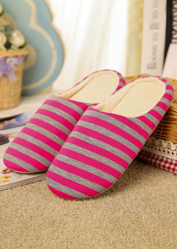 Striped Soft Warm Flat Slippers