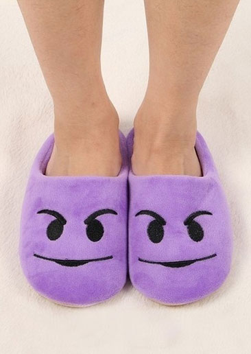 Emoji Embroidery Warm Slippers