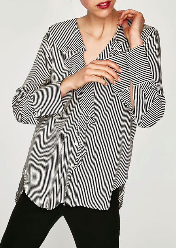 Striped Flouncing Button Long Sleeve Shirt 155041