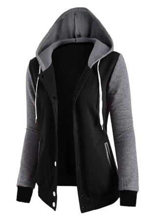 Color Block Drawstring Pocket Hooded Coat