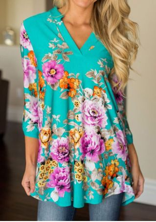 Floral Tab-Sleeve V-Neck Blouse