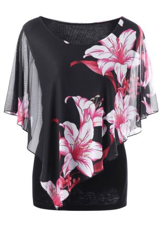 Plus Size Floral Mesh Splicing O-Neck Blouse