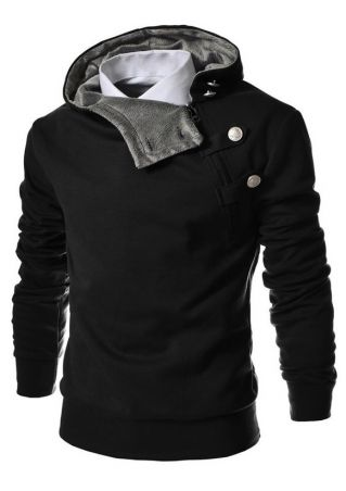 Solid Button Zipper Pocket Hoodie