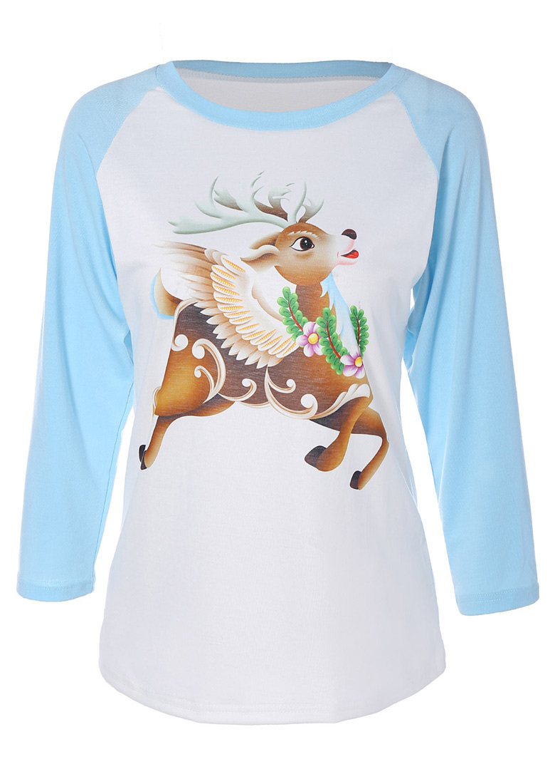 Christmas Reindeer Printed O-Neck T-Shirt