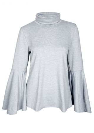 Solid Wrap Turtleneck Flare Sleeve Blouse