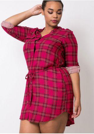 Plus Size Plaid Button Long Sleeve Mini Dress