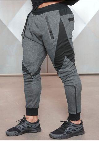 Color Block Drawstring Elastic Waist Sport Pants