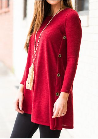 Solid Button Long Sleeve Blouse without Necklace