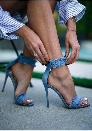 Solid Ankle Strap Denim Heeled Sandals