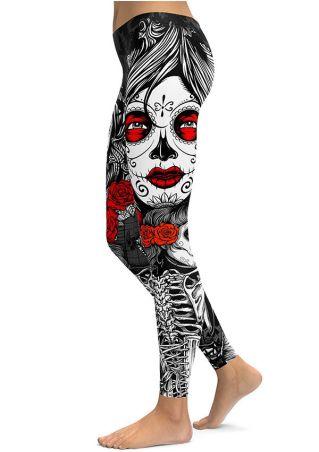 Halloween Skull Rose Elastic Waist Skinny Leggings