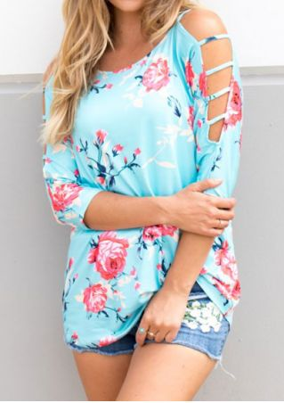 Floral Cold Shoulder O-Neck Blouse