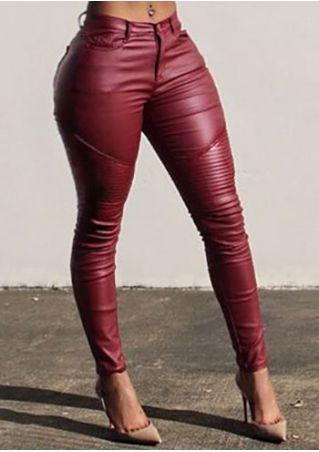 Solid PU Pocket Skinny Pants
