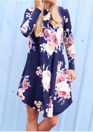 Floral O-Neck Long Sleeve Casual Dress
