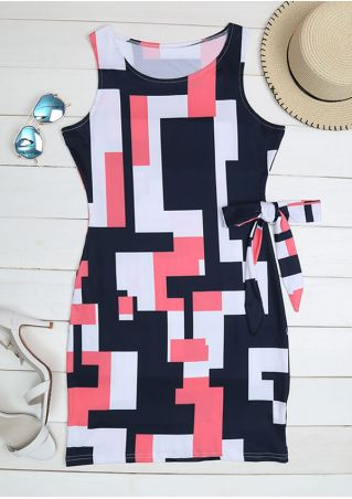 Geometric Bowknot Sleeveless Bodycon Dress