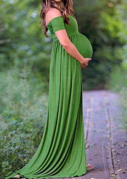 Solid Off Shoulder Maternity Maxi Dress 36114