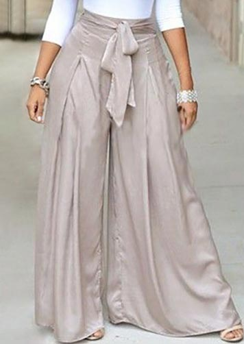 Plus Size Solid Zipper Tie Wide Leg Pants - Bellelily