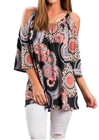 Printed Cold Shoulder Blouse without Necklace
