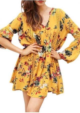 Floral V-Neck Lantern Sleeve Mini Dress