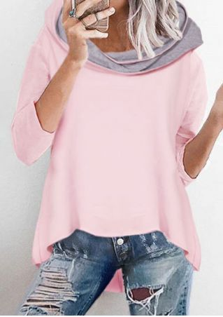 Asymmetric Three Quarter Sleeve Hoodie