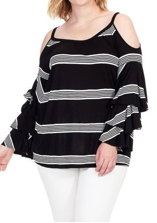 Plus Size Striped Layered Cold Shoulder Blouse