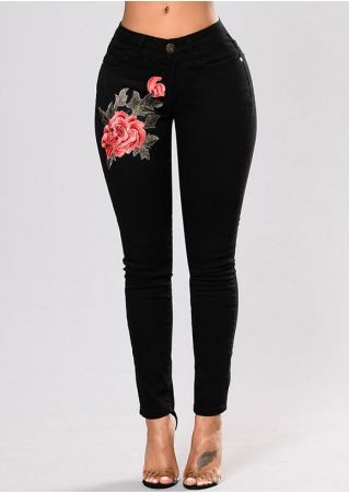 Applique Pocket Zipper Denim Pants